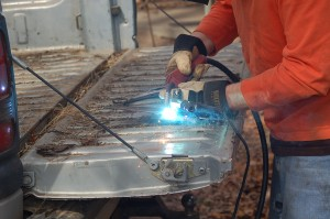 Welding the new piece together