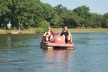 Daniel, Stacie and Alexis enjoying the pedal boat!