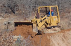 brute at work on the fry lake dam